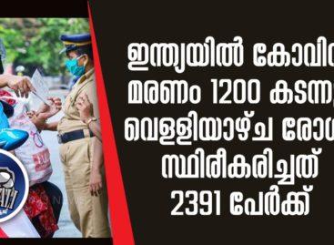 ഇന്ത്യയില് കോവിഡ് മരണം 1200 കടന്നു, വെളളിയാഴ്ച രോഗം സ്ഥിരീകരിച്ചത് 2391 പേര്ക്ക്